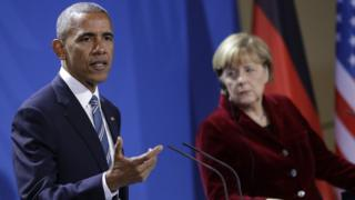 Barack Obama, speaks during press conference with German Chancellor Angela Merkel in chancellery in Berlin, Germany. 17 Nov 2016