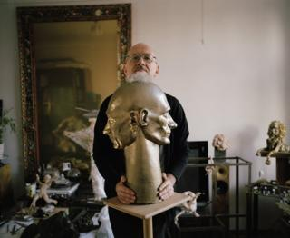 Oleg Kulik in his studio