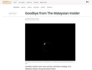 Screencap of farewell message on The Malaysian Insider captured on 14 March 2016