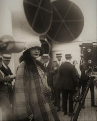 Mrs Rudolph Valentino on the Aquitania in early 1920s