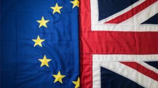 European Union flag next to UK flag