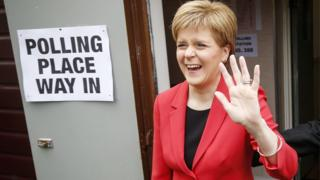 SNP leader Nicola Sturgeon at a polling station in Glasgow