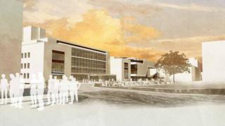 Architect's impression of the new student precinct at Swansea University's Singleton campus