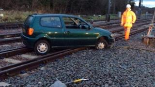 Car on rail track