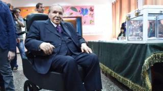 Abdelaziz Bouteflika pictured at his palace in 2017. He has not been seen in public since 2014