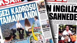 A composite image shows our correspondent Mark Lowen on the pages of tabloid-style papers, in Turkish