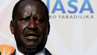 Opposition leader Raila Odinga speaks during a news conference in Nairobi