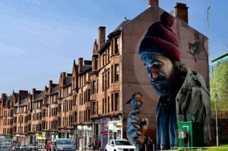 St Mungo on the Glasgow Mural Trail taken by Rachel Webster on a day trip to Glasgow .