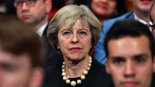 British Prime Minister Theresa May sits in the audience before delivering a speech about Brexit on the first day of the Conservative Party Conference, 2 Oct 2016