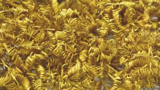 The gold spirals after being cleaned