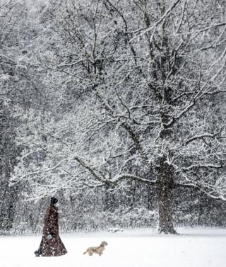 A woman and her dog stroll through the snow