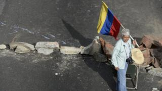 A woman holds a Venezuelan flag during protests on 15 May