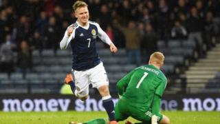 Matt Ritchie celebrates his third goal for Scotland