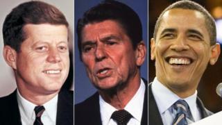 John F Kennedy, Ronald Reagan, Barack Obama