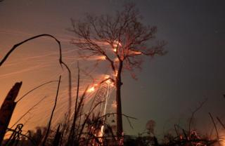 A tract of Amazon rainforest burns as it is cleared by farmers in Rio Pardo, Rondonia in Brazil 15 September 2019.
