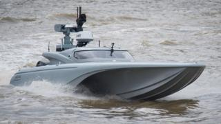 Unmanned military boat on Thames