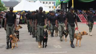 Inspector General of Police Mohammed Adamu give di charge wen e send di K9 team for Operation Puff Adder- alias- fight against bandits for railway stations.