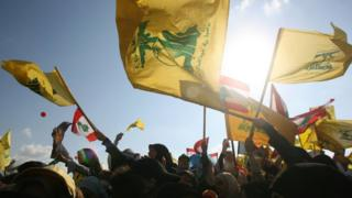 "Lebanon's Hezbollah supporters in ""Victory over Israel"" rally in 2006"
