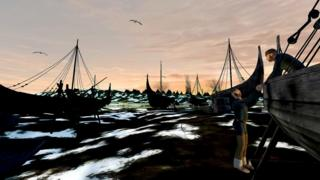 Virtual reality scene of Viking boats on River Trent