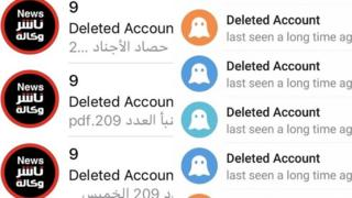 Telegram page showing deleted accounts