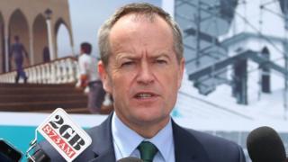 Australian opposition leader Bill Shorten speaks to the media