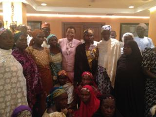 Some of the parents of Chibok girls with Graca Machel