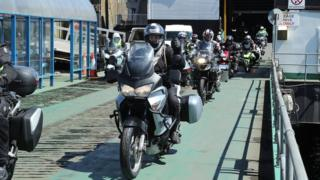 Bikes coming off the Isle of Man ferry during TT week