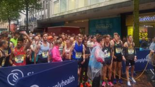 Runners at the start of the Great Birmingham run