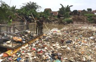 Plastic mass in Indonesian waterway