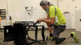Wheelchair being repaired