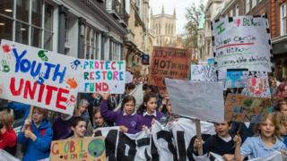 Pupils have taken to the streets in Cambridge