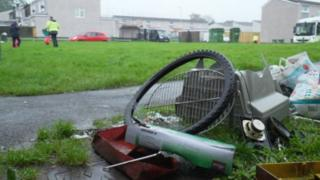 Fly-tipping outside homes on the Lansbury Park estate in Caerphilly
