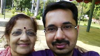Ashish Dikshit and his mum Asha