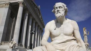 Statue of the Greek philosopher Thucydides in front of the parliament building in Vienna, Austria