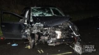 VW Golf destroyed by crash