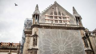 Notre Dame covered in scaffolding, as restoration works continue