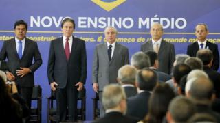 Presidente Michel Temer em cerimônia de sanção da Lei do novo ensino médio