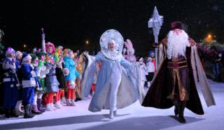 Grandfather Frost and the Snow Maiden mark New Year in Stavropol, Russia