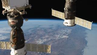 Naves Soyuz en la Estación Espacial Internacional
