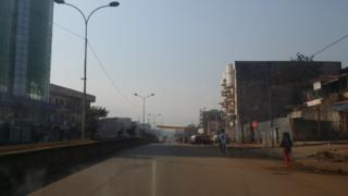 A main road in Bamenda devoid of traffic