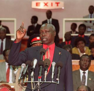 Daniel Arap Moi giving a speech in 1991 to 3000 officials of his ruling Kenya African National Union (KANU) that it is the end of one-party rule in Kenya.