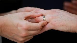 Same-sex spouses exchanging wedding rings