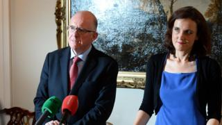 Irish Foreign Affairs Minister Charlie Flanagan and NI Secretary of State Theresa Villiers in 2014