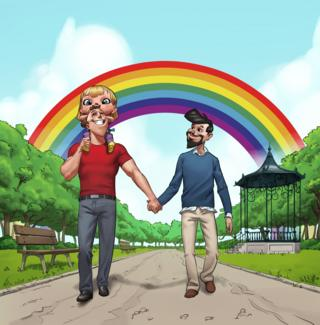 Image of two men holding hands from Rainbow Families book