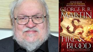 George RR Martin and the US book jacket of Fire and Blood