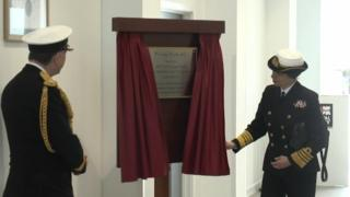 Princess Royal unveiling a plaque in Portsmouth