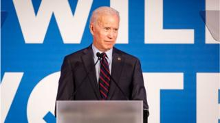 Former vice president and 2020 Democratic presidential candidate Joe Biden speaks to a crowd at a Democratic National Committee event at Flourish in Atlanta on June 6, 2019