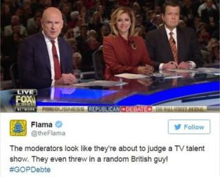"""Tweet joking: """"The moderators look like they're about to judge a TV talent show. They even threw in a random British guy!"""