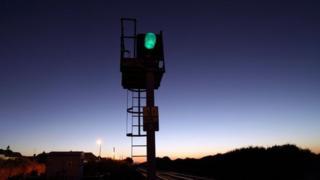 Green light on railway signals