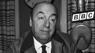 Chilean poet Pablo Neruda at the BBC Latin American Service in 1965